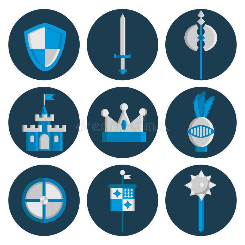 Icônes plates de chevaliers réglées illustration libre de droits