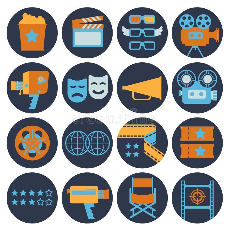Icônes plates de cinématographie illustration stock