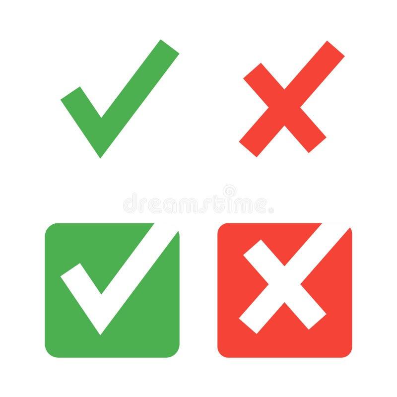Ic?nes plates de coche de vecteur pour le Web et les applis mobiles Couleurs rouges et vertes images libres de droits