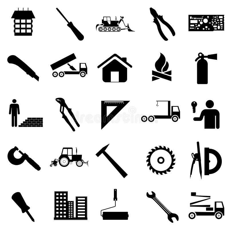 Icônes plates de collection. Symboles de construction. illustration de vecteur