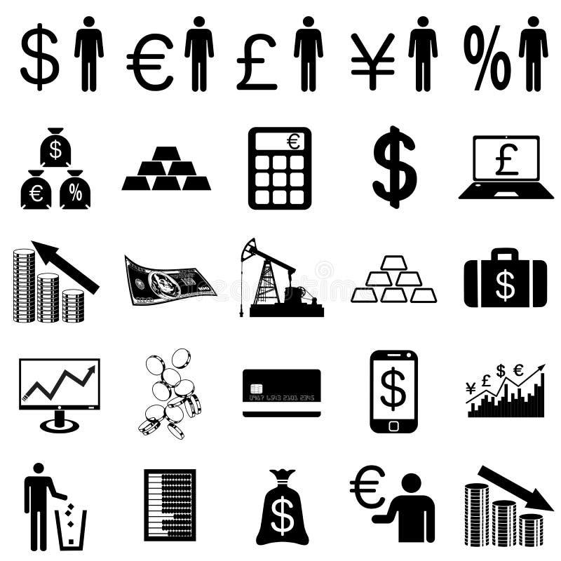 Icônes plates de collection. Symboles de finances. Vecteur illustration de vecteur