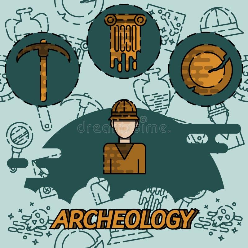 Icônes plates de concept d'archéologie illustration libre de droits