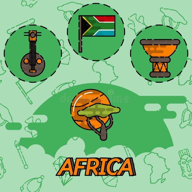 Icônes plates de concept de l'Afrique illustration stock