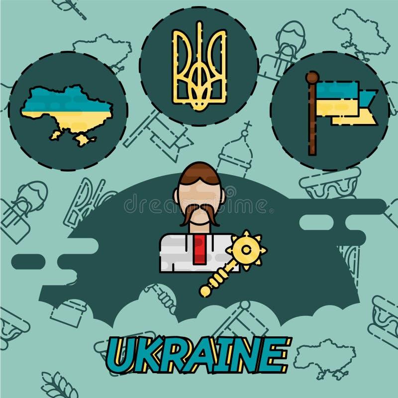 Icônes plates de concept de l'Ukraine illustration libre de droits