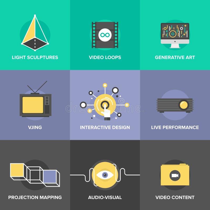 Icônes plates de conception d'art audio et visuel illustration stock