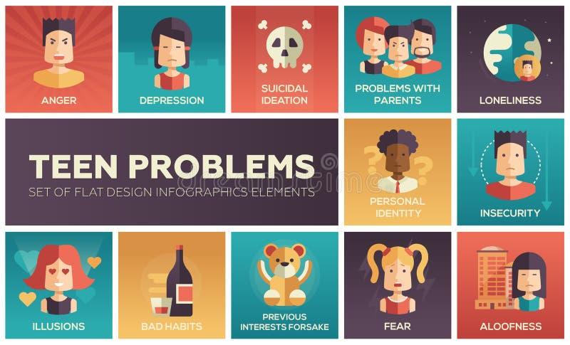 Icônes plates de conception de problèmes de l'adolescence réglées illustration libre de droits