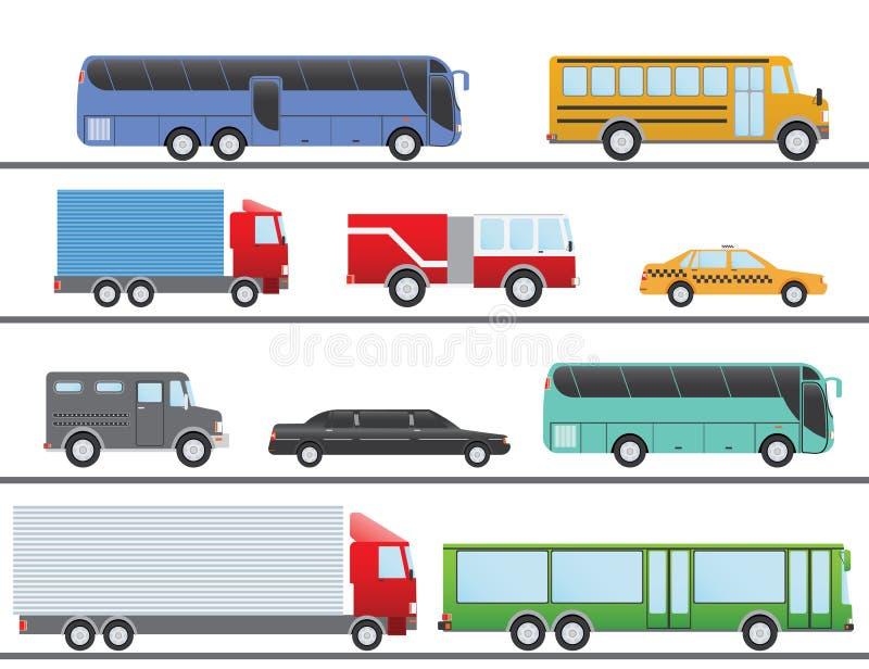 Icônes plates de conception de vecteur d'illustration de transport plat de ville Camions, autobus, taxi, limousine, camion de pom illustration de vecteur