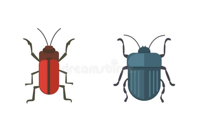 Icônes plates de conception de vecteur de style d'insectes Illustration de scarabée de nature de collection et de bande dessinée  illustration libre de droits