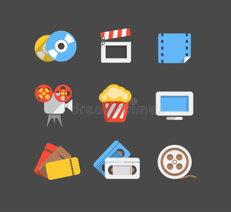Icônes plates de conception de Web de cinéma illustration de vecteur