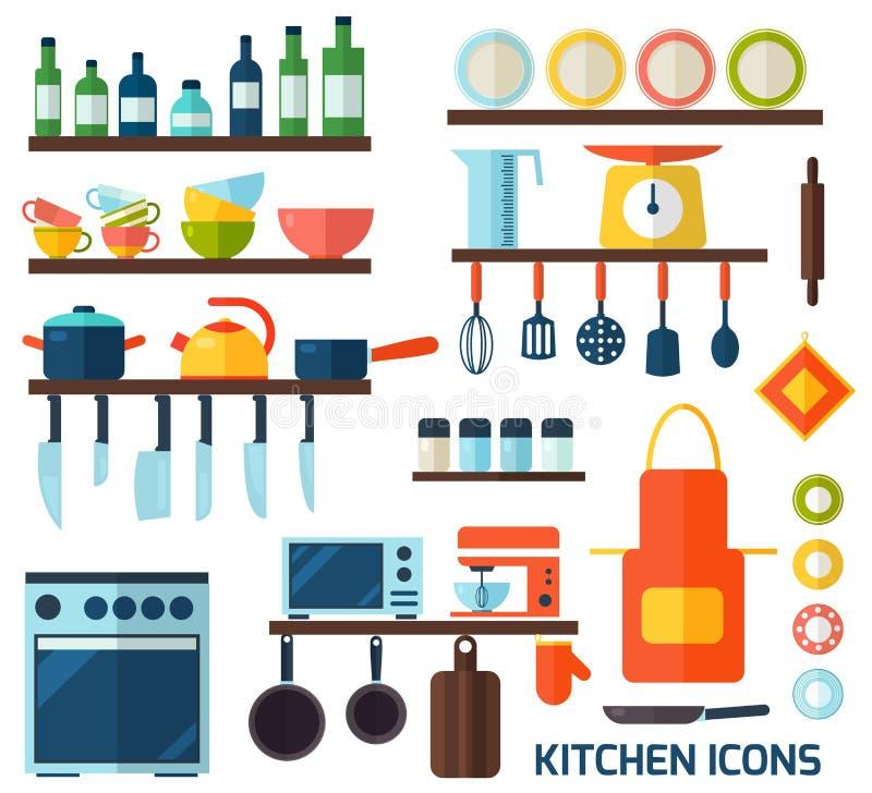 Icônes plates de cuisine et de cuisson illustration libre de droits