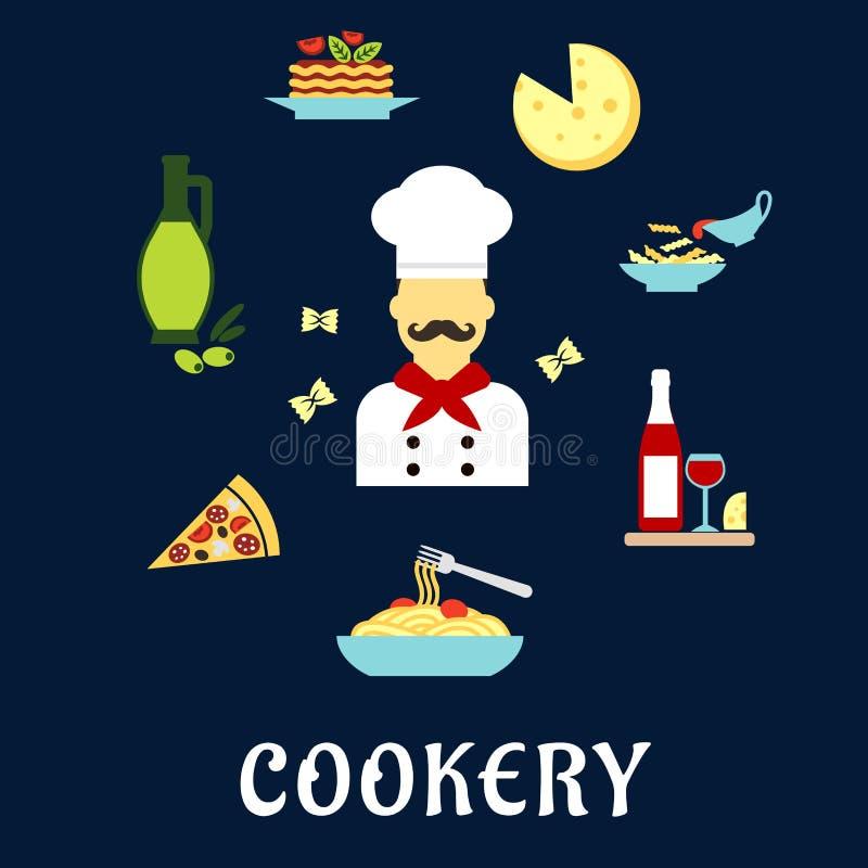 Icônes plates de cuisine italienne avec le chef et les plats illustration libre de droits