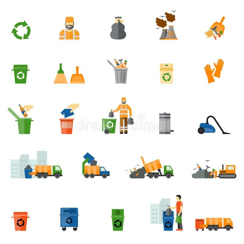 Icônes plates de déchets et de déchets réglées illustration libre de droits