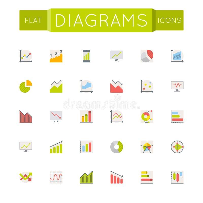 Icônes plates de diagrammes de vecteur illustration stock