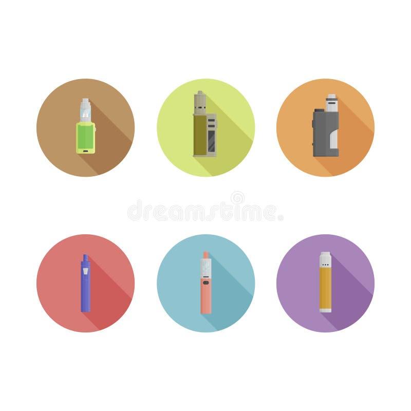 Icônes plates de dispositif de vape de longshadow Pinte 2 illustration stock