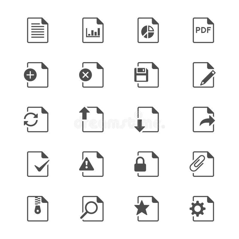 Icônes plates de document illustration stock