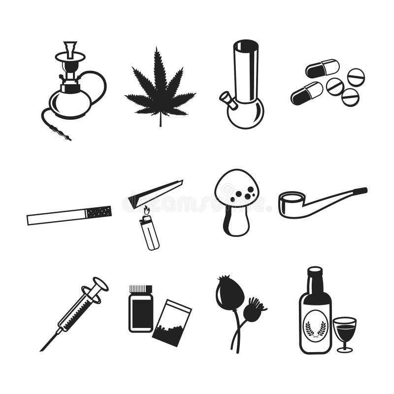 Icônes plates de drogues réglées, illustration de vecteur illustration stock