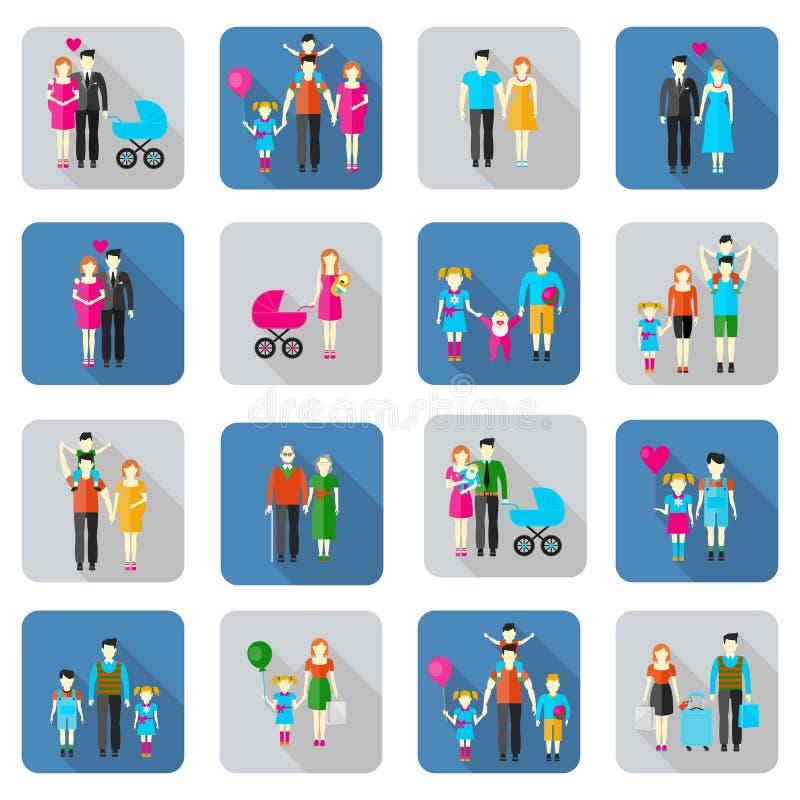 Icônes plates de famille et de personnes illustration de vecteur