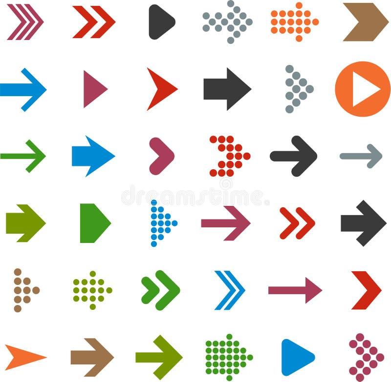 Icônes plates de flèche. illustration stock