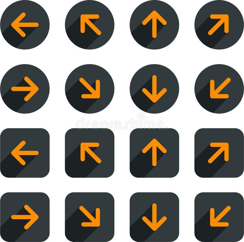 Icônes plates de flèche illustration stock