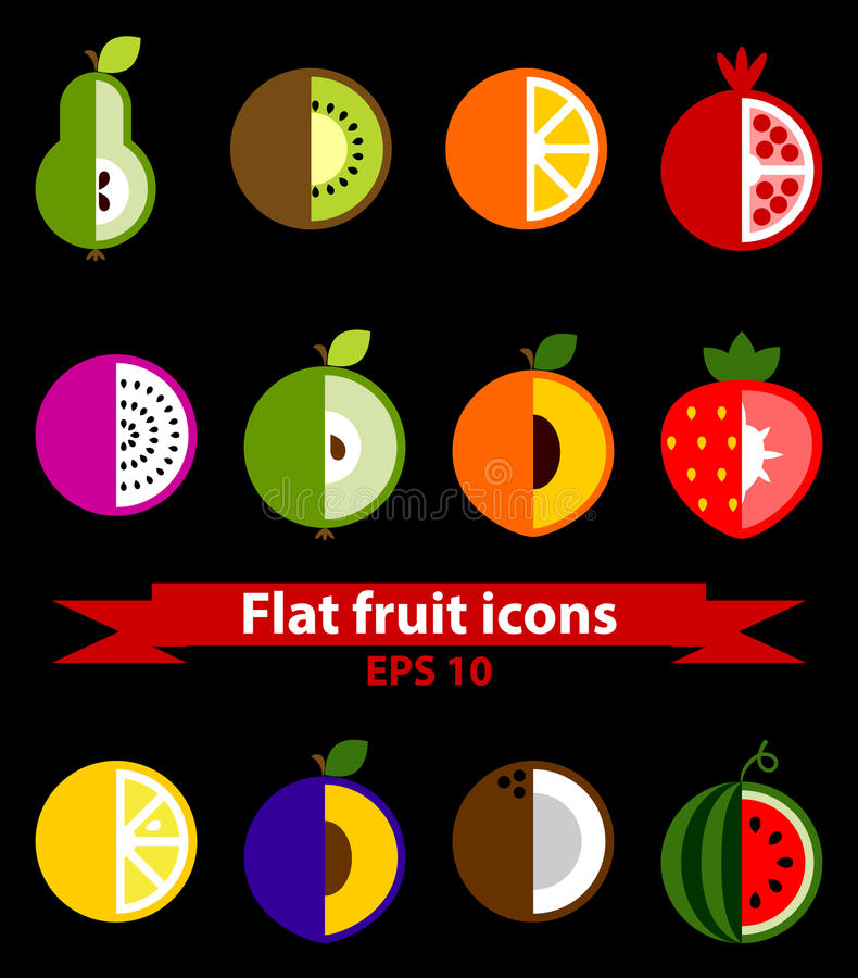 Icônes plates de fruit illustration stock
