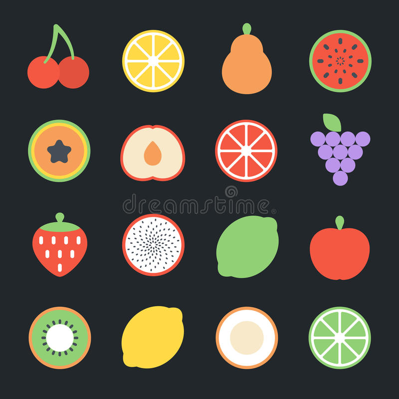 Icônes plates de fruits illustration stock