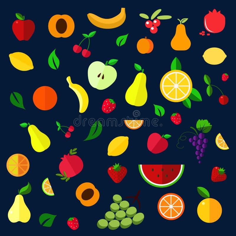 Icônes plates de fruits et de baies illustration de vecteur