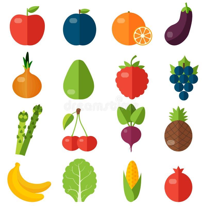 Icônes plates de fruits frais et de légumes réglées illustration stock
