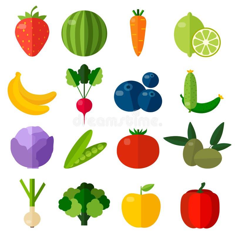 Icônes plates de fruits frais et de légumes réglées illustration de vecteur