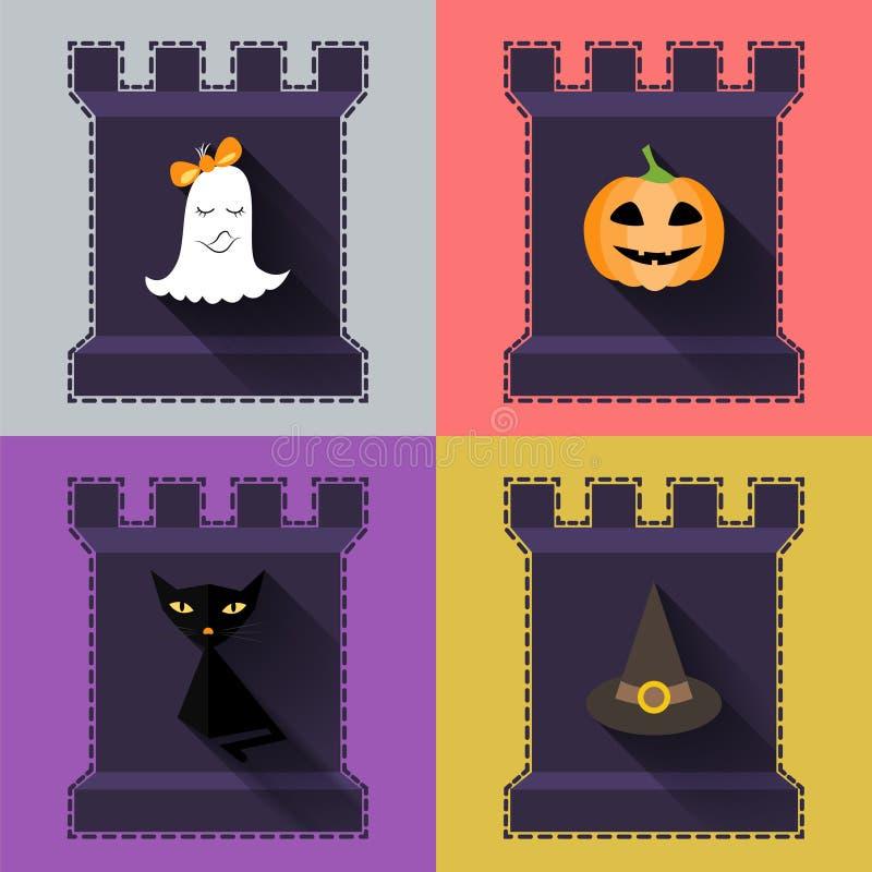Icônes plates de Halloween réglées Potiron, fantôme, chapeau, chat noir dans le château illustration de vecteur