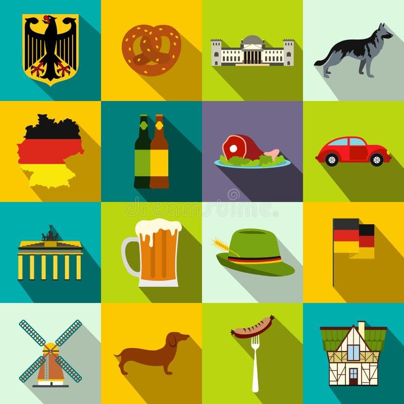 Icônes plates de l'Allemagne illustration stock