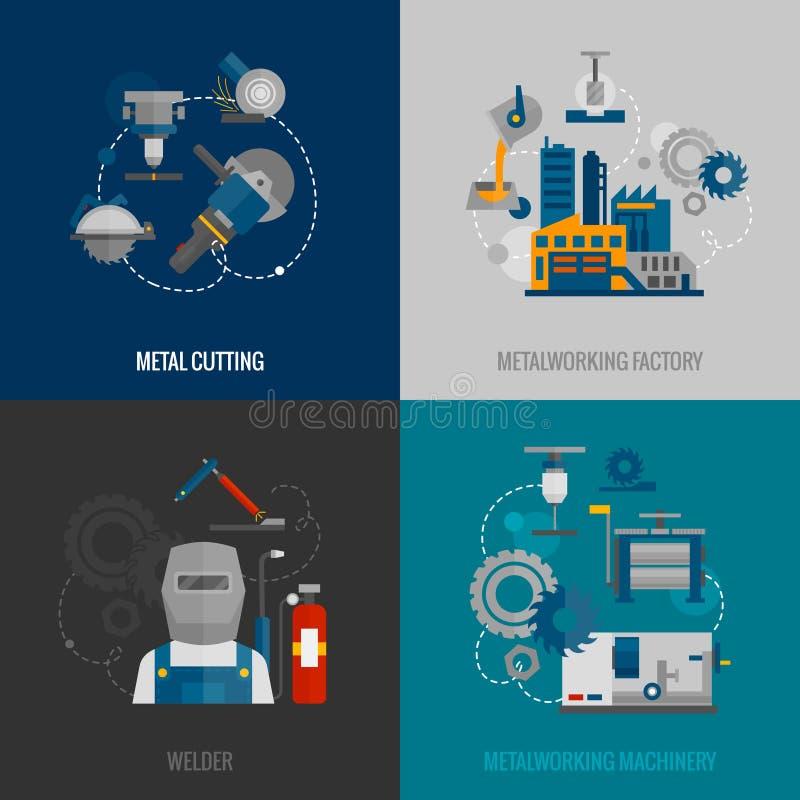 Icônes plates de l'usine 4 métallurgiques illustration libre de droits
