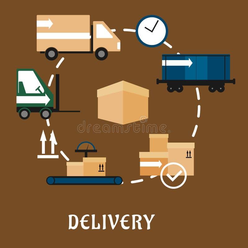 Icônes plates de la livraison, d'expédition et de logistique illustration stock