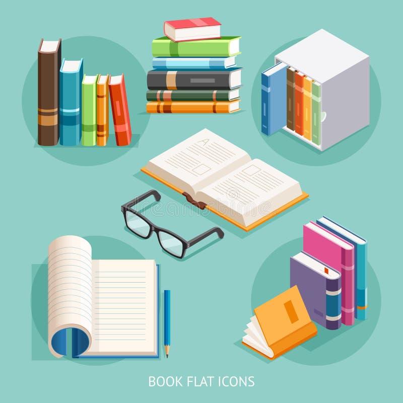 Icônes plates de livre réglées Vecteur illustration de vecteur
