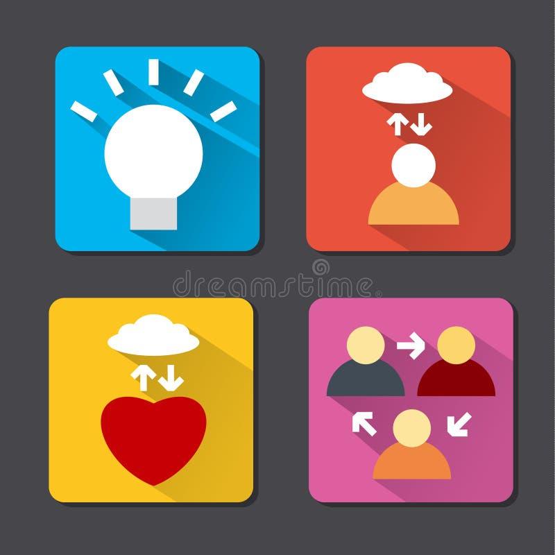 Icônes plates de méditation illustration de vecteur