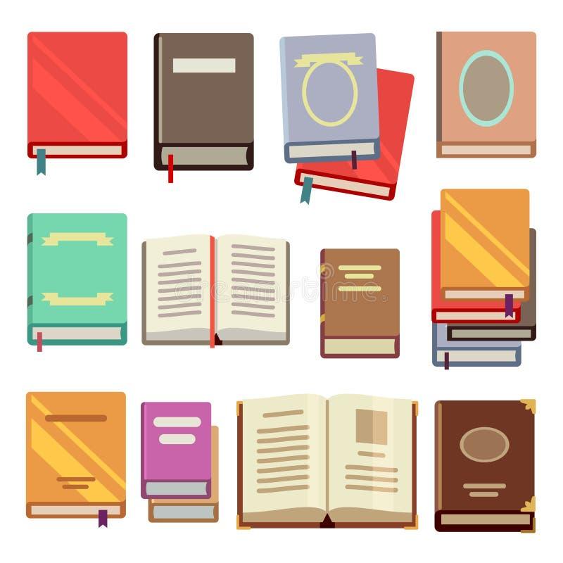 Icônes plates de manuel d'école illustration libre de droits