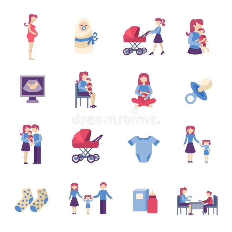 Icônes plates de maternité réglées illustration de vecteur