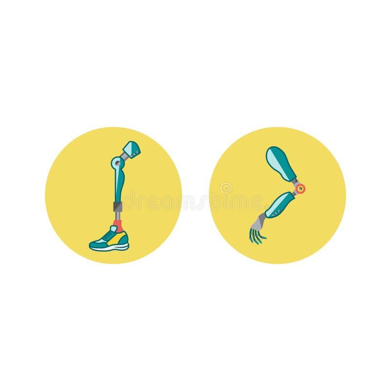 Icônes plates de membres prosthétiques Mécanisme prosthétique d'exosquelette moderne Prothèse de Cyber illustration libre de droits