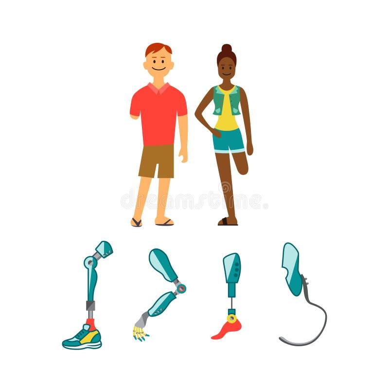 Icônes plates de membres prosthétiques Mécanisme prosthétique d'exosquelette moderne Prothèse de Cyber illustration stock