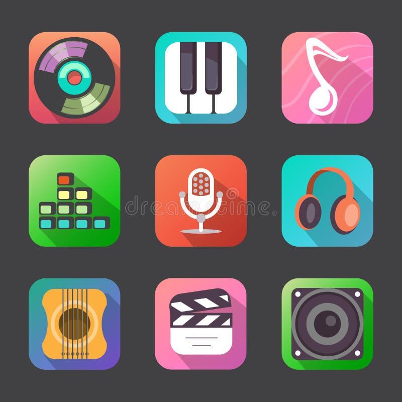 Icônes plates de musique illustration stock
