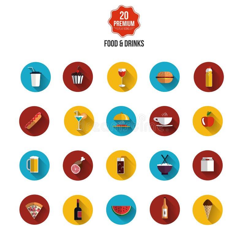 Icônes plates de nourriture et de boissons illustration de vecteur