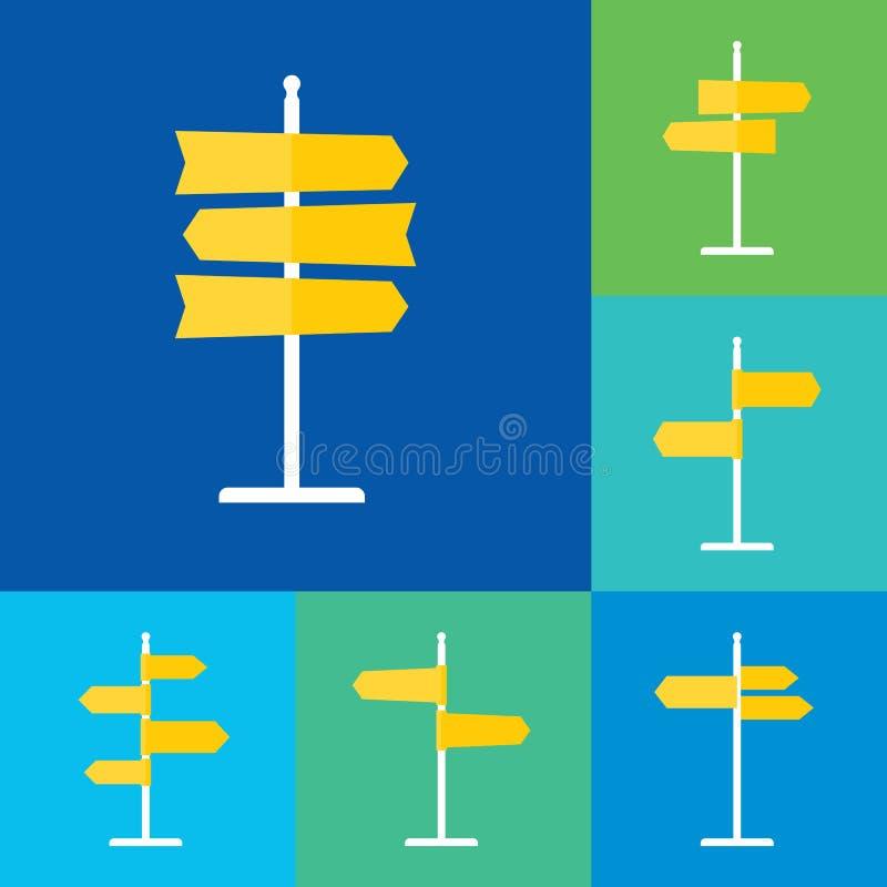 Download Icônes Plates De Panneau Routier Réglées Illustration de Vecteur - Illustration du message, panneau: 76079769