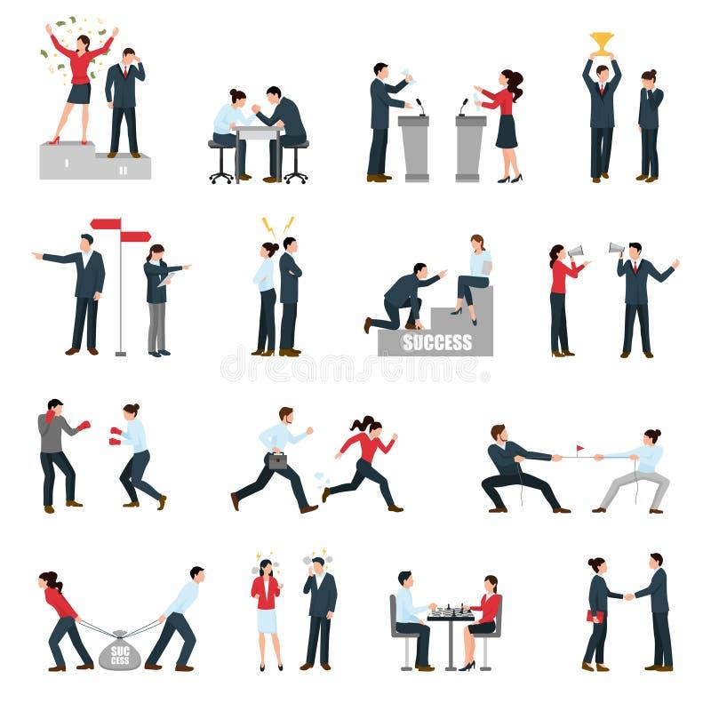 Icônes plates de personnes de confrontation d'affaires réglées illustration de vecteur