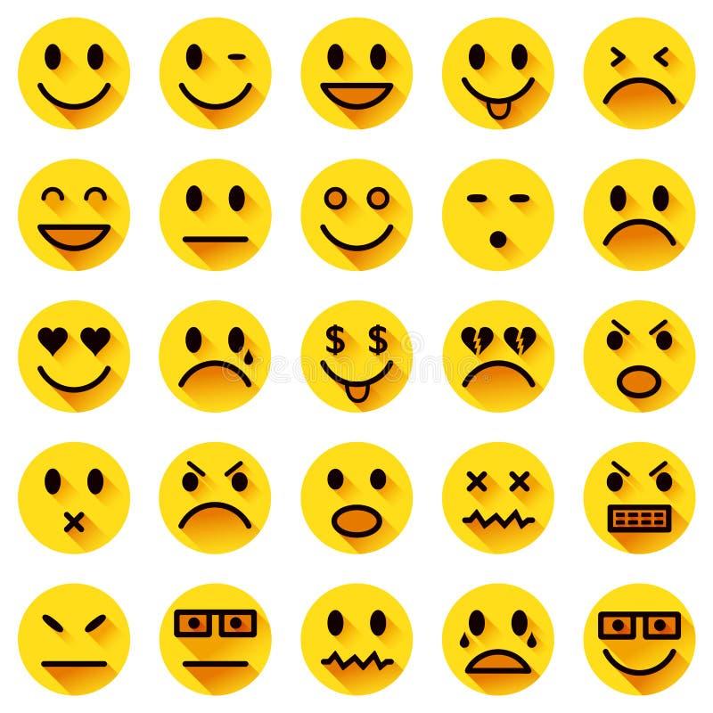 Icônes plates de smiley de cercle illustration libre de droits