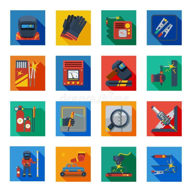 Icônes plates de soudure dans les places colorées illustration stock