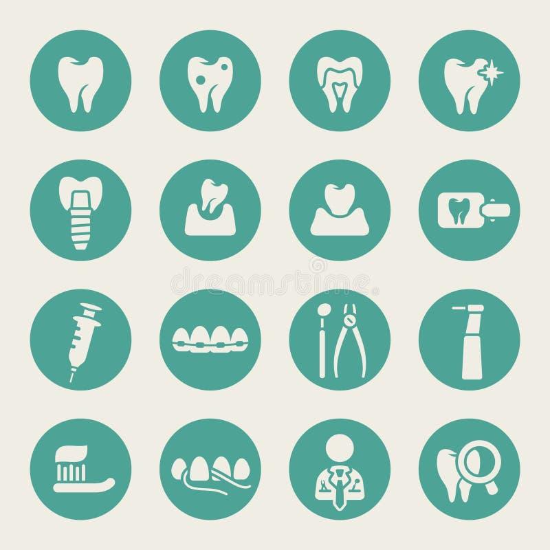 Icônes plates de thème dentaire illustration libre de droits