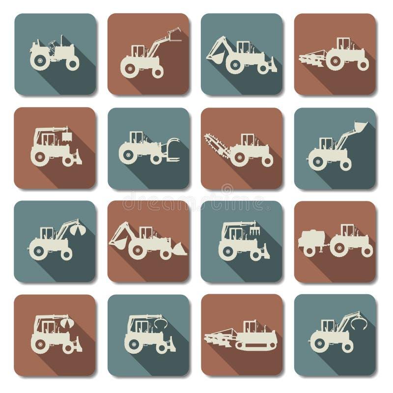Icônes plates de tracteur de vecteur illustration stock