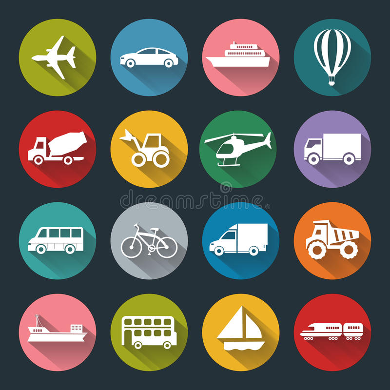 Icônes plates de transport illustration stock