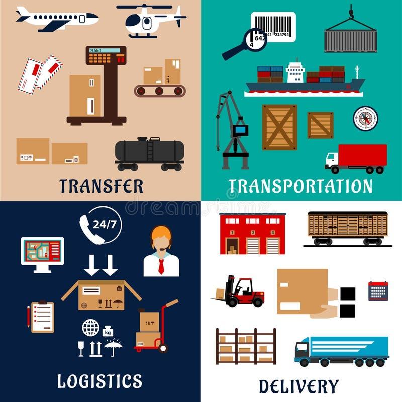 Icônes plates de transport de marchandises et de logistique illustration stock