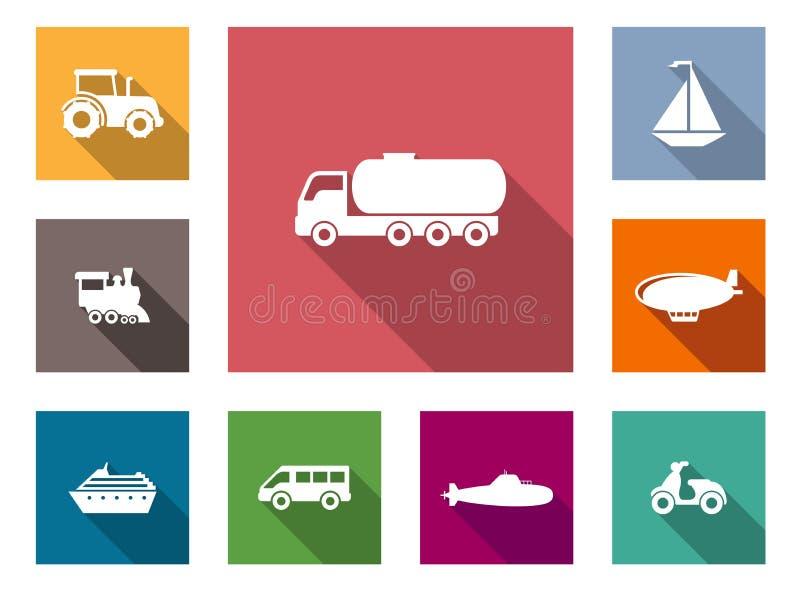 Icônes plates de transport réglées illustration stock