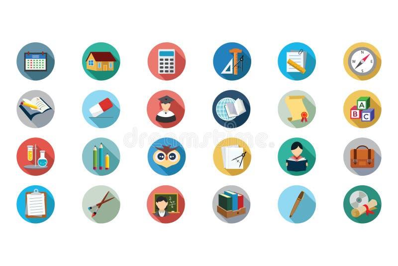 Icônes plates 5 de vecteur d'éducation illustration stock
